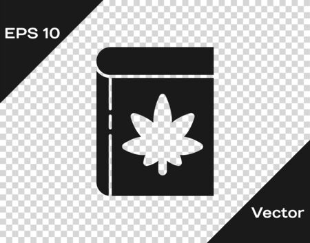 Black Book and marijuana or cannabis leaf icon isolated on transparent background. Hemp symbol. Vector Illustration