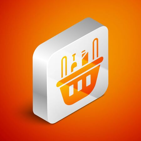 Isometric Shopping basket and food icon isolated on orange background. Food store, supermarket. Silver square button. Vector Illustration. Ilustracja