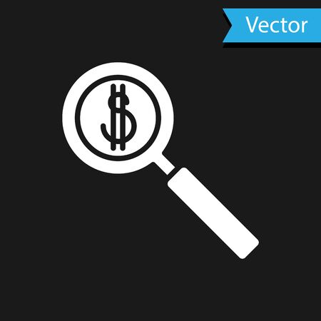 White Magnifying glass and dollar symbol icon isolated on black background. Find money. Looking for money. Vector Illustration.