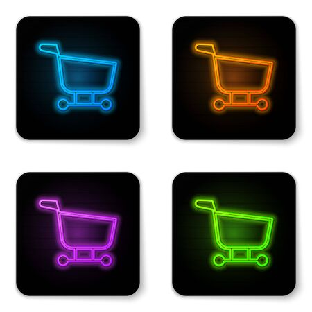 Glowing neon Shopping cart icon isolated on white background. Food store, supermarket. Black square button. Vector Illustration