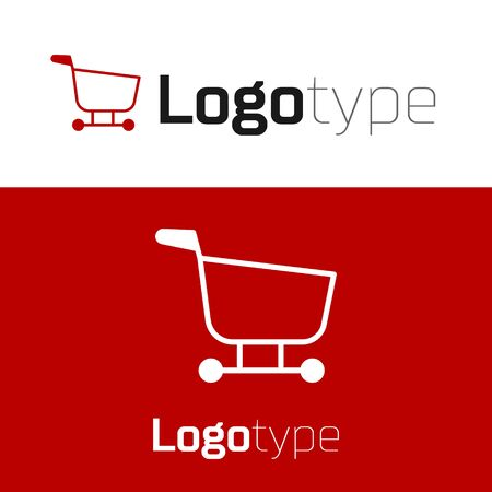 Red Shopping cart icon isolated on white background. Food store, supermarket.  design template element. Vector Illustration
