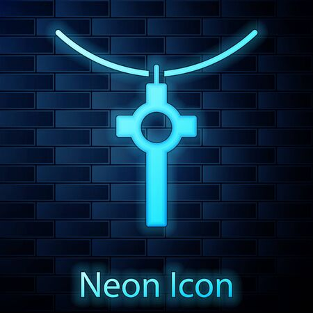 Glowing neon Christian cross on chain icon isolated on brick wall background. Church cross. Vector Illustration.