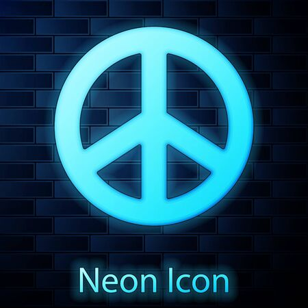 Glowing neon Peace icon isolated on brick wall background. Hippie symbol of peace. Vector Illustration. Ilustracja