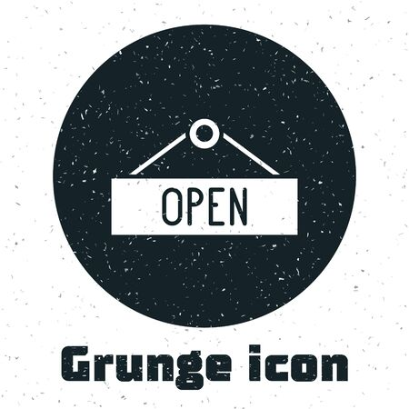 Grunge Hanging sign with text Open door icon isolated on white background. Monochrome vintage drawing. Vector Illustration