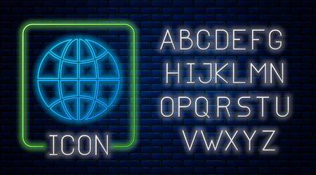 Glowing neon Worldwide icon isolated on brick wall background. Pin on globe. Neon light alphabet. Vector Illustration Ilustracja