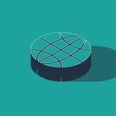 Isometric Worldwide icon isolated on green background. Pin on globe. Vector Illustration Zdjęcie Seryjne - 147743338