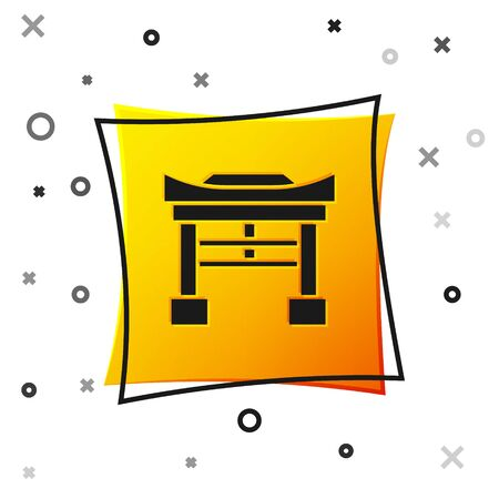 Black Japan Gate icon isolated on white background. Torii gate sign. Japanese traditional classic gate symbol. Yellow square button. Vector Illustration 向量圖像