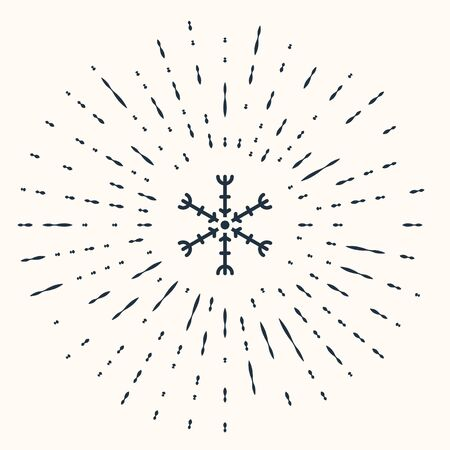 Grey Snowflake icon isolated on beige background. Abstract circle random dots. Vector Illustration