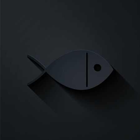 Paper cut Christian fish symbol icon isolated on black background. Jesus fish symbol. Paper art style. Vector Illustration