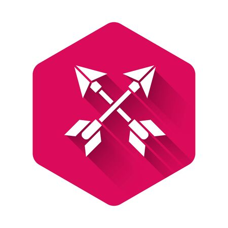 White Crossed arrows icon isolated with long shadow. Pink hexagon button. Vector Illustration Çizim
