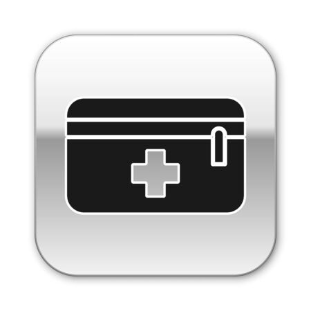 Black First aid kit icon isolated on white background. Medical box with cross. Medical equipment for emergency. Healthcare concept. Silver square button. Vector Illustration