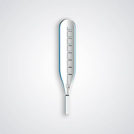 Paper cut Medical thermometer for medical examination icon isolated on grey background. Paper art style. Vector Illustration