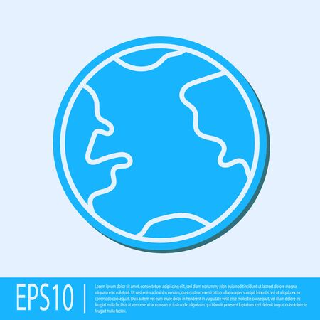 Blue line Earth globe icon isolated on grey background. World or Earth sign. Global internet symbol. Geometric shapes. Vector Illustration