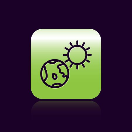 Black line Earth globe and sun icon isolated on black background. World or Earth sign. Global internet symbol. Geometric shapes. Green square button. Vector Illustration