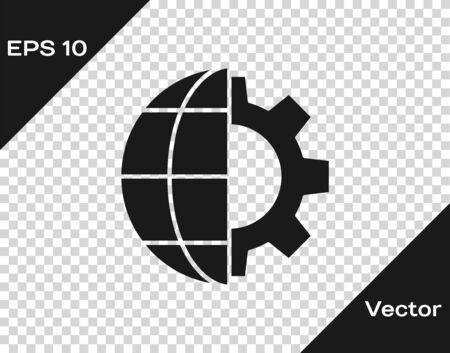 Black Globe of the Earth and gear or cog icon isolated on transparent background. Setting parameters. Global Options. Vector Illustration Zdjęcie Seryjne - 147742640
