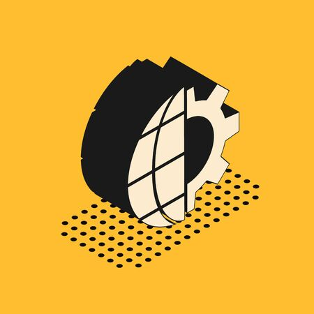 Isometric Globe of the Earth and gear or cog icon isolated on yellow background. Setting parameters. Global Options. Vector Illustration Ilustracja