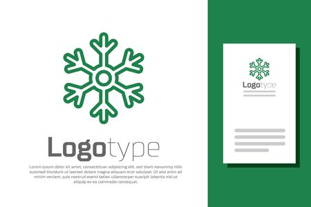 Green line Snowflake icon isolated on white background.  design template element. Vector Illustration