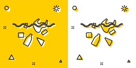 Black The problem of pollution of the ocean icon isolated on yellow and white background. The garbage, plastic, bags on the sea. Random dynamic shapes. Vector Illustration Ilustracja
