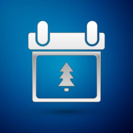 Silver Calendar with tree icon isolated on blue background. Event reminder symbol. Merry Christmas and Happy New Year. Vector Illustration Illustration