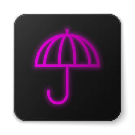 Glowing neon line Classic elegant opened umbrella icon isolated on white background. Rain protection symbol. Black square button. Vector Illustration