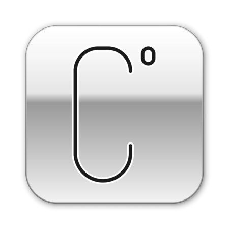 Black line Celsius icon isolated on white background. Silver square button. Vector Illustration Ilustrace
