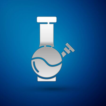 Silver Glass bong for smoking marijuana or cannabis icon isolated on blue background. Vector Illustration.