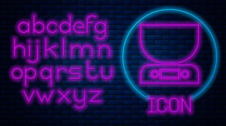 Glowing neon Electronic scales icon isolated on brick wall background. Weight measure equipment. Neon light alphabet. Vector Illustration