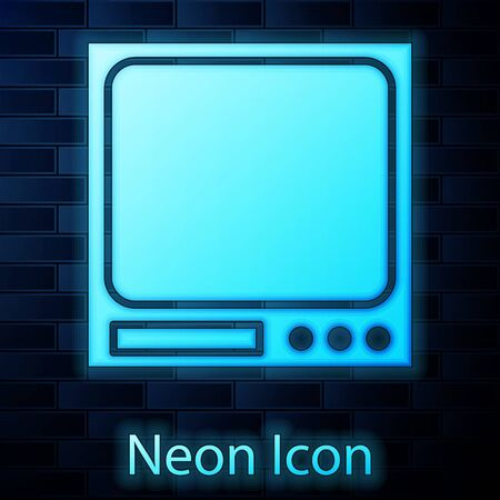 Glowing neon Electronic scales icon isolated on brick wall background. Weight measure equipment. Vector Illustration