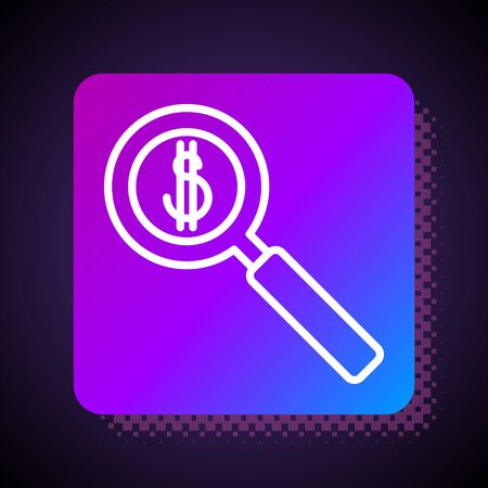 White line Magnifying glass and dollar symbol icon isolated on black background. Find money. Looking for money. Square color button. Vector Illustration Ilustracja
