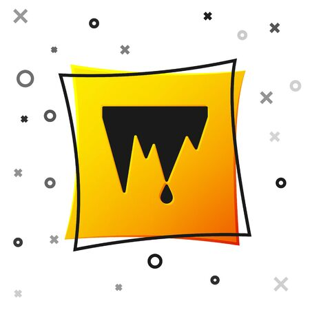 Black Icicle icon isolated on white background. Stalactite, ice spikes. Winter weather, snow crystals. Yellow square button. Vector Illustration. Vectores