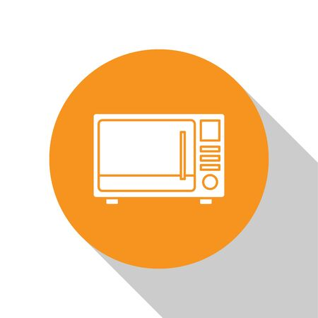 White Microwave oven icon isolated on white background. Home appliances icon. Orange circle button. Vector Illustration