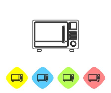 Grey line Microwave oven icon isolated on white background. Home appliances icon. Set icons in color rhombus buttons. Vector Illustration