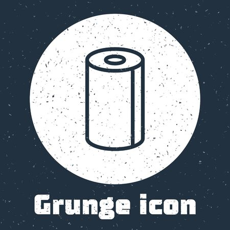 Grunge line Paper towel roll icon isolated on grey background. Monochrome vintage drawing. Vector Illustration