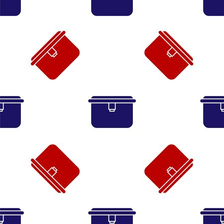 Blue and red Lunch box icon isolated seamless pattern on white background. Vector Illustration.