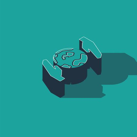 Isometric Human hands holding Earth globe icon isolated on green background. Save earth concept. Vector Illustration Ilustracja