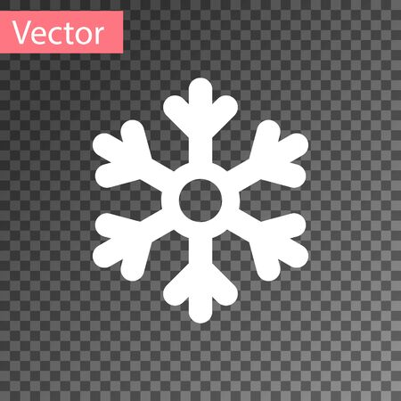 White Snowflake icon isolated on transparent background. Vector Illustration