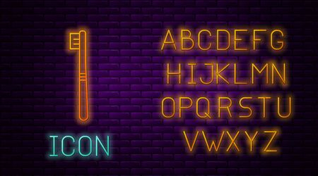 Glowing neon line Toothbrush icon isolated on brick wall background. Neon light alphabet. Vector Illustration Ilustração