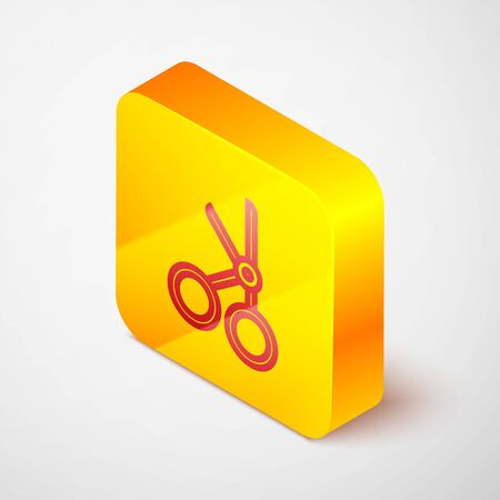 Isometric line Medical scissors icon isolated on grey background. Yellow square button. Vector Illustration Illusztráció