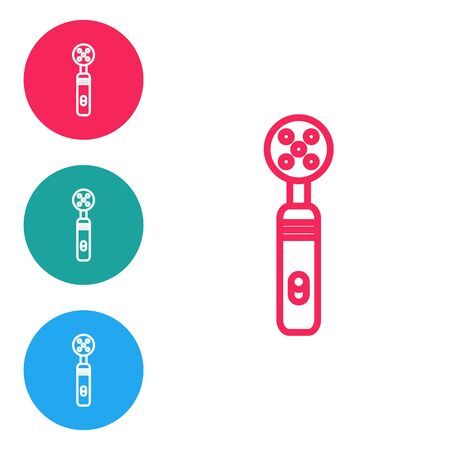 Red line Electric toothbrush icon isolated on white background. Medical instrument. Set icons in circle buttons. Vector Illustration Ilustração