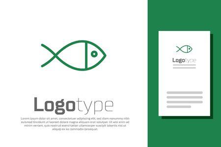 Green line Christian fish symbol icon isolated on white background. Jesus fish symbol.