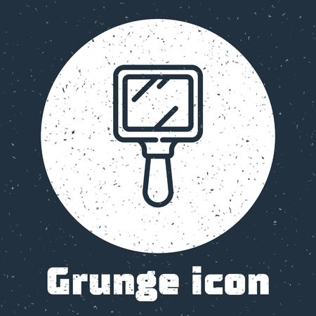 Grunge line Hand mirror icon isolated on grey background. Monochrome vintage drawing. Vector Illustration