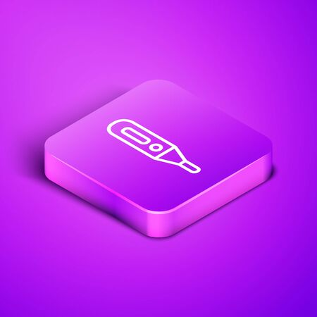 Isometric line Medical digital thermometer for medical examination icon isolated on purple background. Purple square button. Vector Illustration