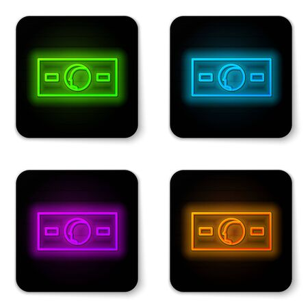 Glowing neon line Paper money cash icon isolated on white background. Money banknotes stacks. Bill currency. Black square button. Vector Illustration Ilustracja