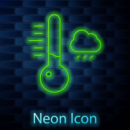 Glowing neon line Meteorology thermometer measuring icon isolated on brick wall background. Thermometer equipment showing hot or cold weather. Vector Illustration.
