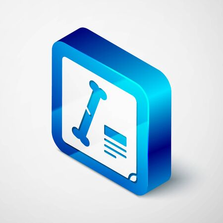 Isometric X-ray shots icon isolated on grey background. Blue square button. Vector Illustration