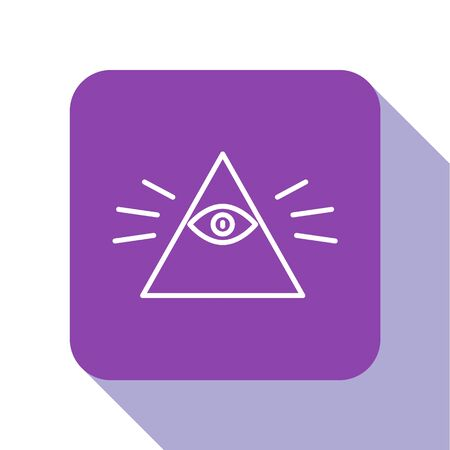 White line Masons symbol All-seeing eye of God icon isolated on white background. The eye of Providence in the triangle. Purple square button. Vector Illustration.  イラスト・ベクター素材