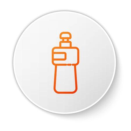 Orange line Dishwashing liquid bottle icon isolated on white background. Liquid detergent for washing dishes. White circle button. Vector Illustration Ilustracja