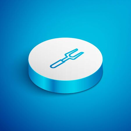 Isometric line Barbecue fork icon isolated on blue background. BBQ fork sign. Barbecue and grill tool. White circle button. Vector Illustration Ilustracja