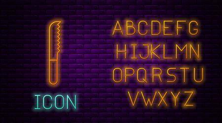 Glowing neon line Bread knife icon isolated on brick wall background. Cutlery symbol. Neon light alphabet. Vector Illustration Ilustracja