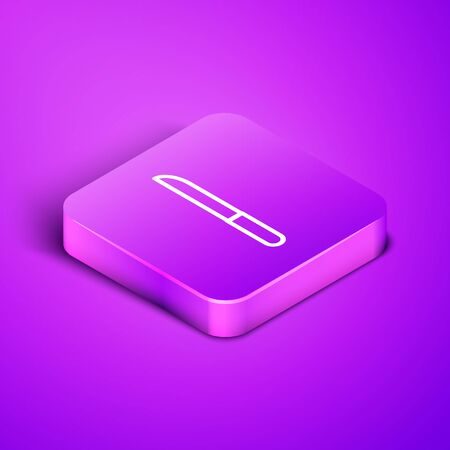 Isometric line Knife icon isolated on purple background. Cutlery symbol. Purple square button. Vector Illustration